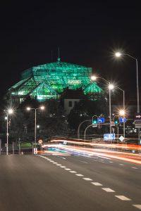 Podświetlona Palmiarnia w Zielonej Górze