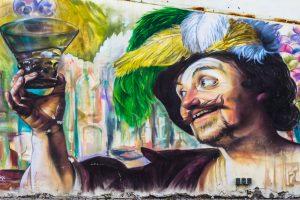 Zielonogórski mural przedstawiający tradycje winiarskie